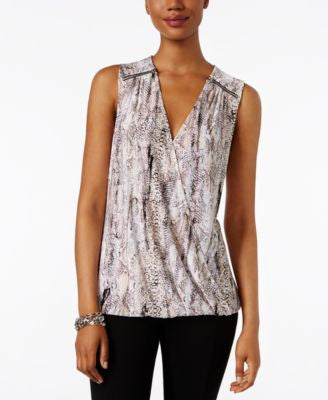 INC International Concepts Printed Surplice Blouse, Only at Vogily