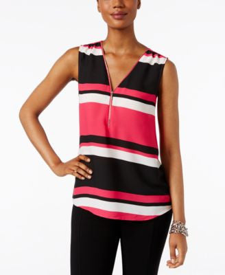 INC International Concepts Petite Striped Zip-Front Blouse, Only at Vogily