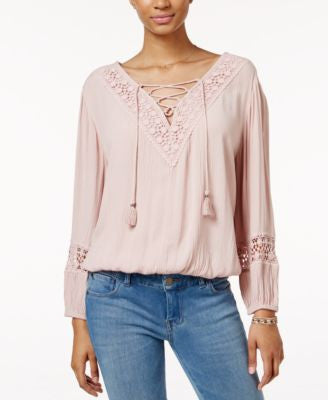 American Rag Crocheted Lace-Up Peasant Top, Only at Vogily