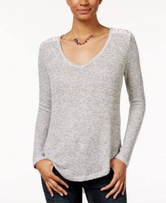 American Rag V-Neck Lace-Hem Top, Only at Vogily