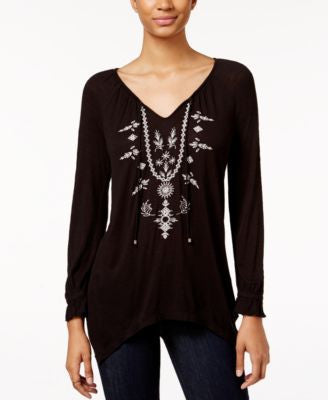 American Rag Embroidered Handkerchief-Hem Top, Only at Vogily