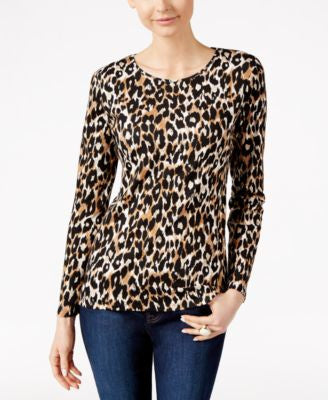 Charter Club Animal-Print Long-Sleeve Top, Only at Vogily