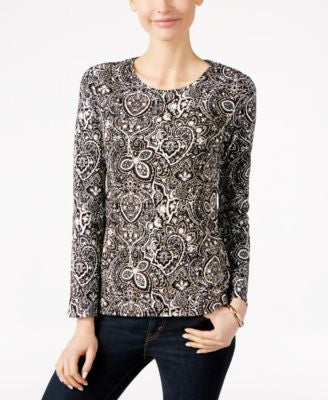 Charter Club Paisley-Print Long-Sleeve Top, Only at Vogily