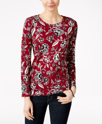 Charter Club Floral-Print Long-Sleeve Top, Only at Vogily