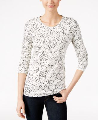 Charter Club Dot-Print Long-Sleeve Top, Only at Vogily