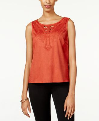 American Rag Embroidered Faux-Suede Top, Only at Vogily