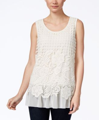 Style & Co. Petite Crocheted Chiffon-Hem Top, Only at Vogily