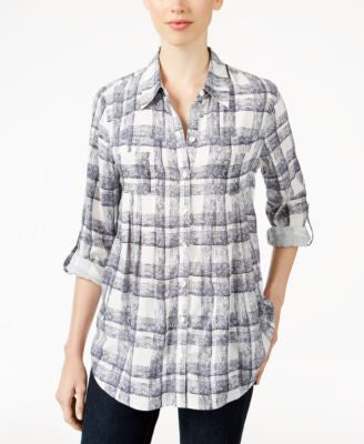 Style & Co. Petite Plaid Button-Front Shirt, Only at Vogily