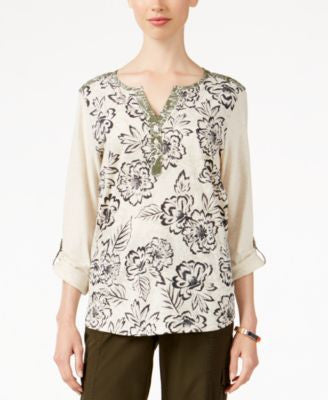 Style & Co. Printed Three-Quarter-Sleeve Top, Only at Vogily