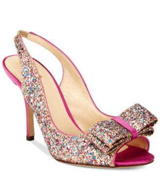kate spade new york Charm Multicolor Glitter Open-Toe Pumps