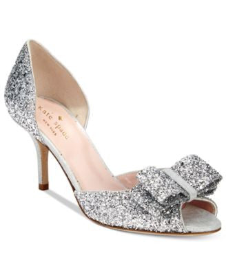kate spade new york Sela Glitter Open-Toe Pumps