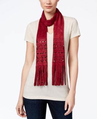 INC International Concepts Perforated Faux Suede Skinny Scarf, Only at Vogily