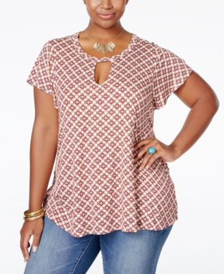 Eyeshadow Plus Size Printed Keyhole Top