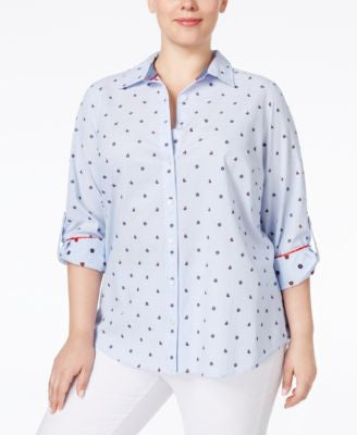 Charter Club Plus Size Printed Shirt, Only at Vogily