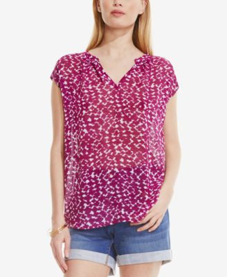 TWO by Vince Camuto Printed Split-Neck Blouse
