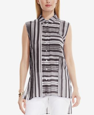 TWO by Vince Camuto Striped High-Low Shirt
