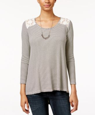 American Rag High-Low Lace-Back Top, Only at Vogily