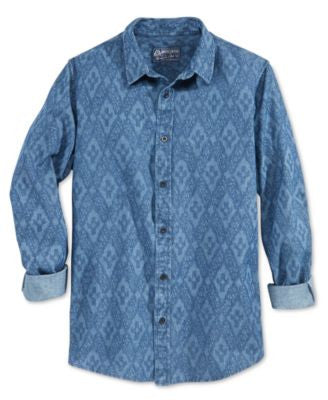 American Rag Men's Swift Geo-Print Long-Sleeve Shirt, Only at Vogily