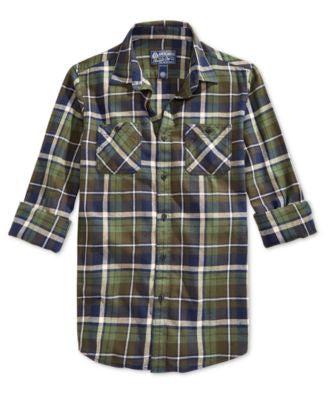 American Rag Men's Plaid Flannel Long-Sleeve Shirt, Only at Vogily