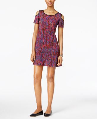 ECI Printed Cold-Shoulder A-line Dress