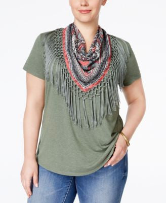 Style & Co. Plus Size Fringe-Scarf Top, Only at Vogily