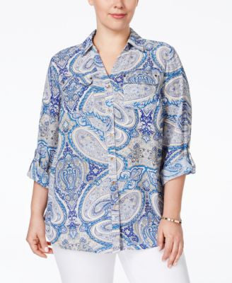 Charter Club Plus Size Paisley-Print Button Down Blouse, Only at Vogily