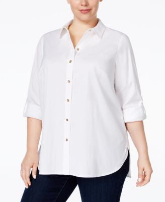 Charter Club Plus Size Roll-Tab Button Down Shirt, Only at Vogily