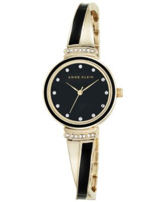 Anne Klein Women's Gold-Tone Stainless Steel and Black Enamel Bangle Bracelet Watch 26mm AK-2216BKGB