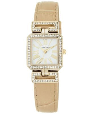 Anne Klein Women's Crystal Accent Tan Leather Strap Watch 24x31mm AK/2396WTTN