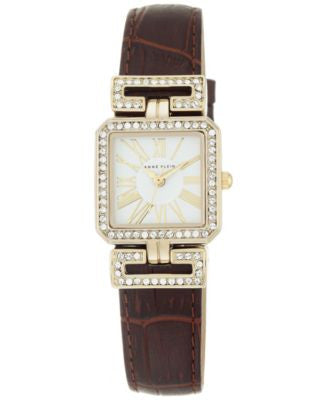 Anne Klein Women's Brown Leather Strap Watch 24x31mm AK-2396WTBN