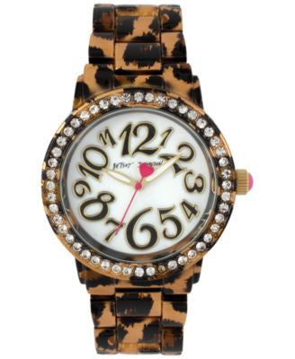 Betsey Johnson Women's Brown Leopard-Printed Bracelet Watch 42mm BJ00482-09