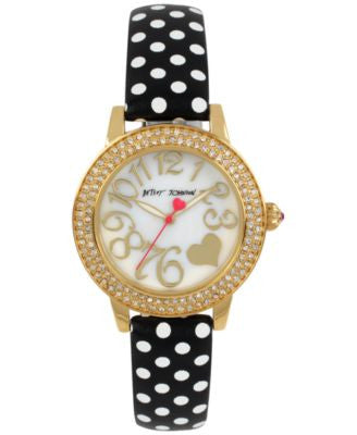 Betsey Johnson Women's Black and White Polka Dot Leather Strap Watch 33mm BJ00251-10