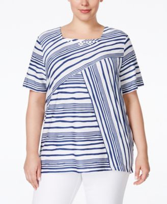 Alfred Dunner Plus Size St. Augustine Collection Embellished Striped Blouse