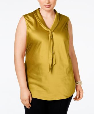 Tahari ASL Plus Size Sleeveless Charmeuse Tie-Neck Blouse