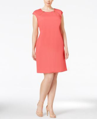 Calvin Klein Plus Size Dot-Textured Sheath Dress
