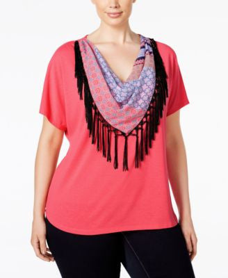 NY Collection Plus Size Fringe Scarf Top