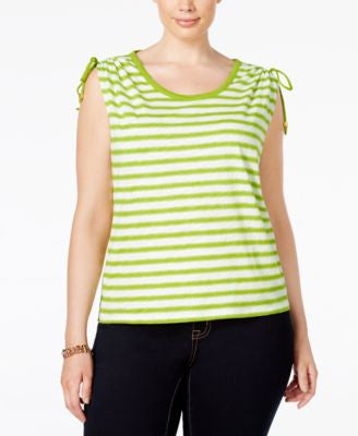 MICHAEL Michael Kors Plus Size Striped Ruched Top