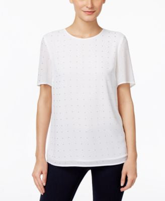 MICHAEL Michael Kors Short-Sleeve Studded Blouse