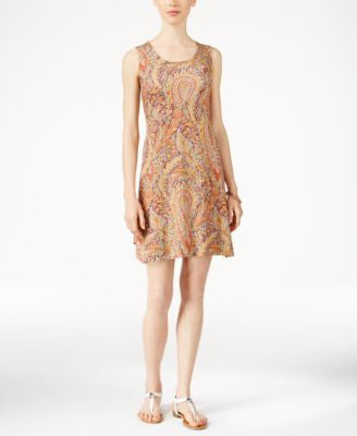 Style & Co. Petite Printed Crochet-Back Dress, Only at Vogily