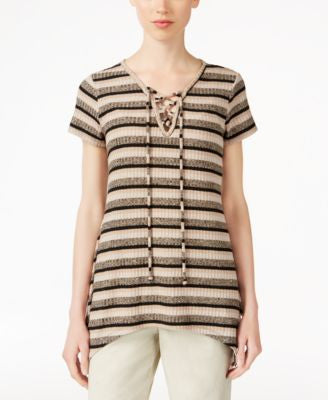 Style & Co. Petite Striped Lace-Up Top, Only at Vogily