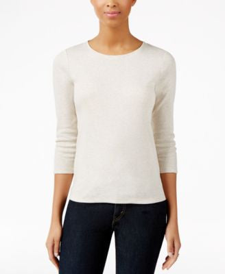 Charter Club Petite Oatmeal Heather Knit Top, Only at Vogily