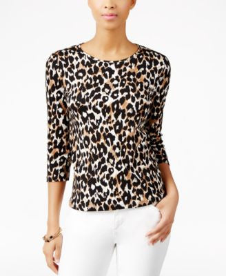 Charter Club Petite Animal-Print Top, Only at Vogily