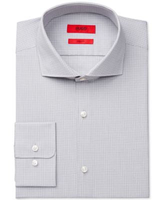 HUGO Slim-Fit Light Gray Check Dress Shirt