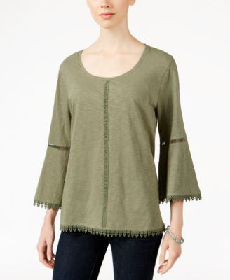Style & Co. Bell-Sleeve Crochet-Trim Knit Top, Only at Vogily