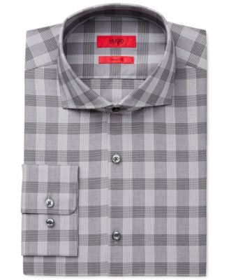 HUGO Men's Slim-Fit Grey Plaid Dress Shirt