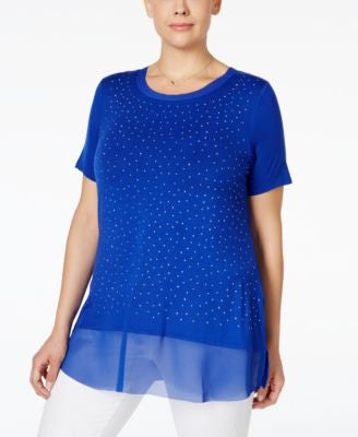 Belldini Plus Size Studded Chiffon-Hem Top
