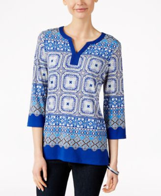 Charter Club Printed Three-Quarter-Sleeve Tunic, Only at Vogily