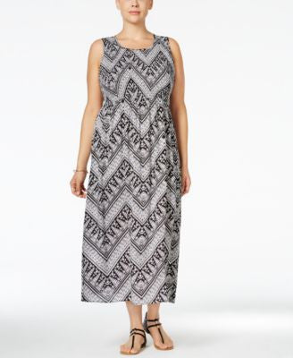 NY Collection Plus Size Chevron-Print Smocked Maxi Dress