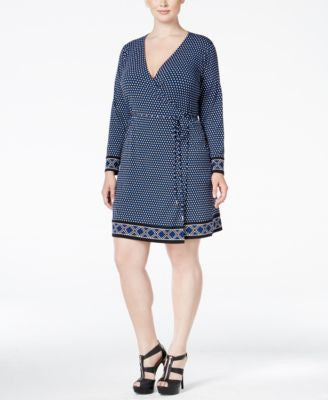 MICHAEL Michael Kors Plus Size Border-Print Wrap Dress