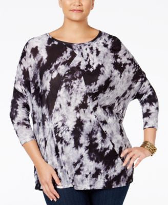 NY Collection Plus Size Tie-Dyed Dolman-Sleeve Top